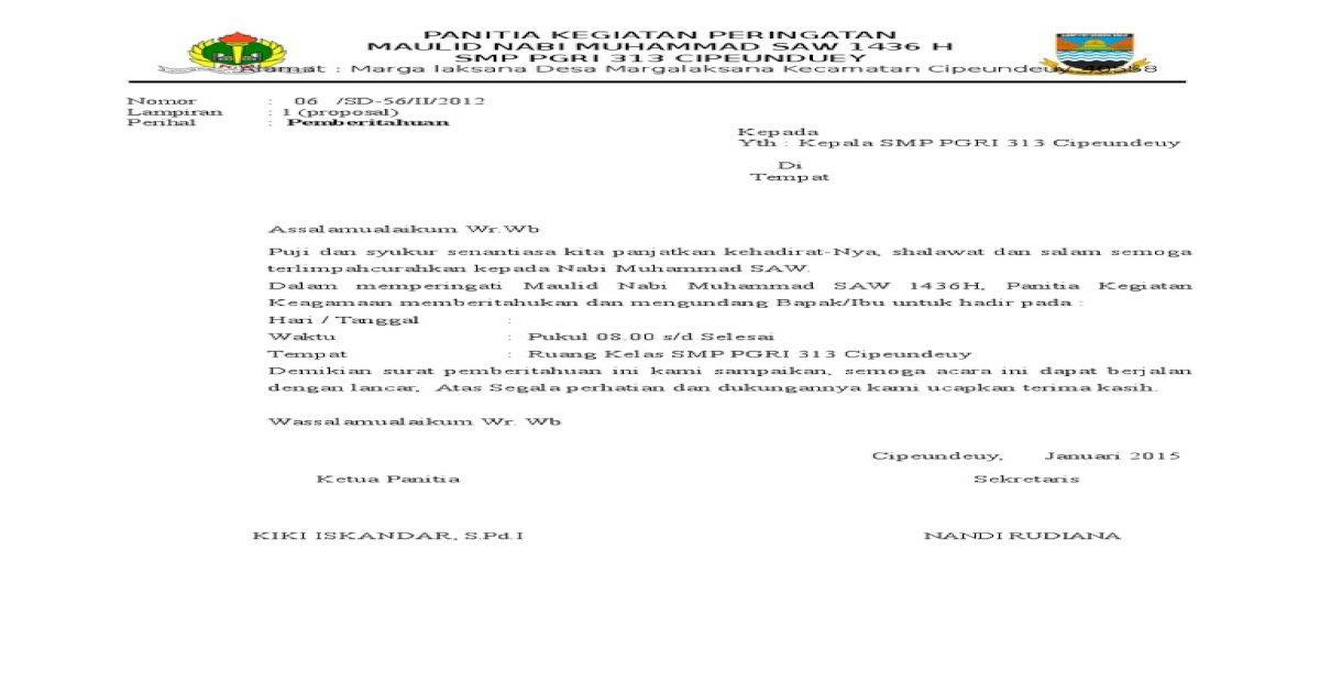 Surat Undangan Maulid Nabi Saw Pdf Document