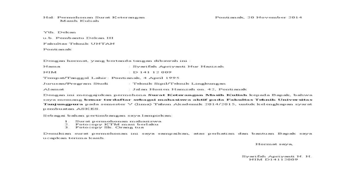 Surat Masih Kuliahdocx Pdf Document