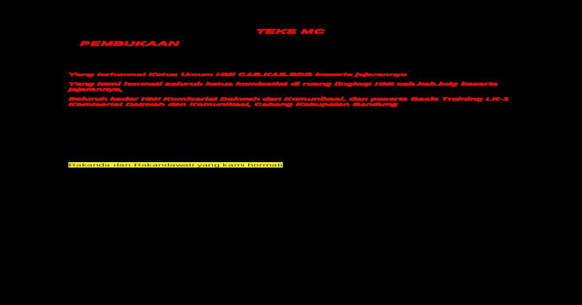 Yang Terhormat Ketua Umum Hmi Cab Docx Document