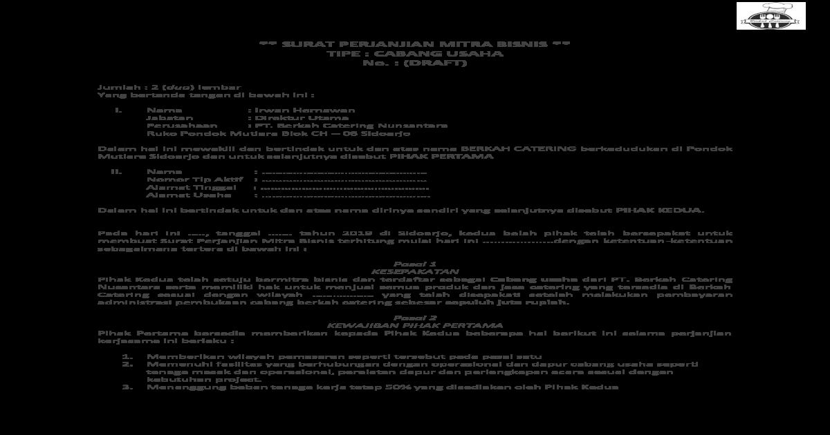 Surat Perjanjian Mitra Bisnis 5 Membantu Kegiatan Promosi Dari