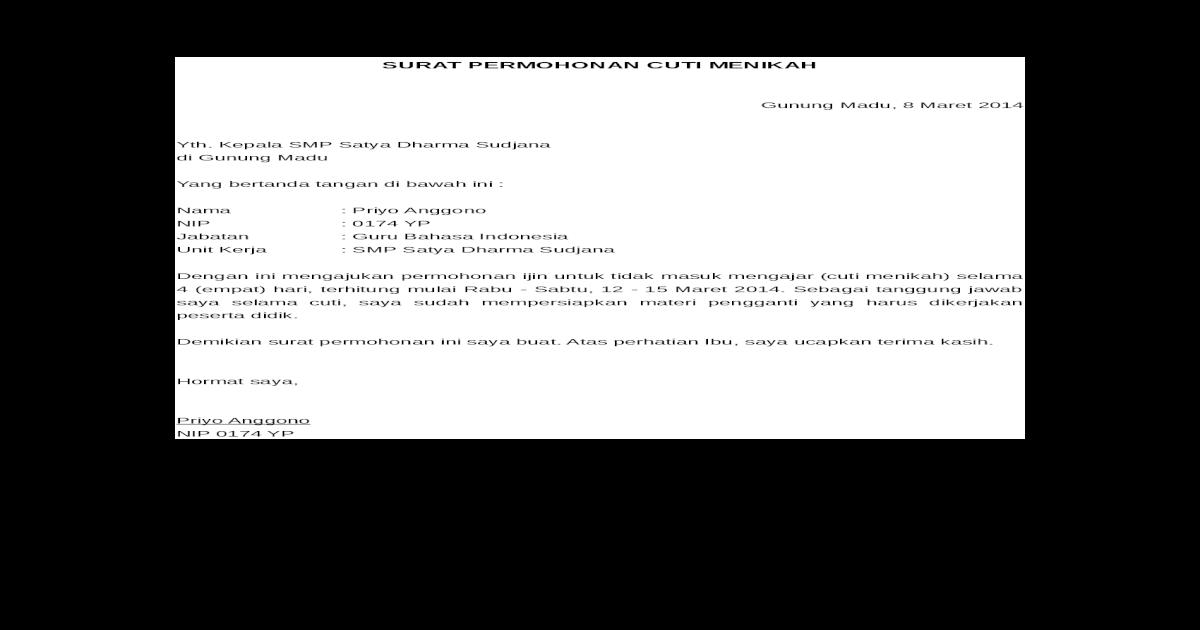 Surat Permohonan Cuti Menikah Doc Document