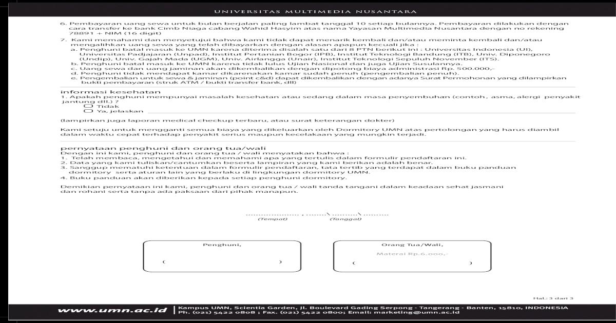 Informasi Kesehatan Pernyataan Penghuni Dan Orang Tuawali