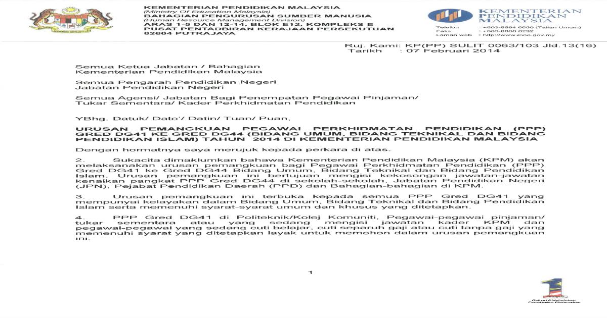 Iklan Urusan Pemangkuan Ppps Dg41 Ke Dg44 Mengikut Bidang Pdf Document