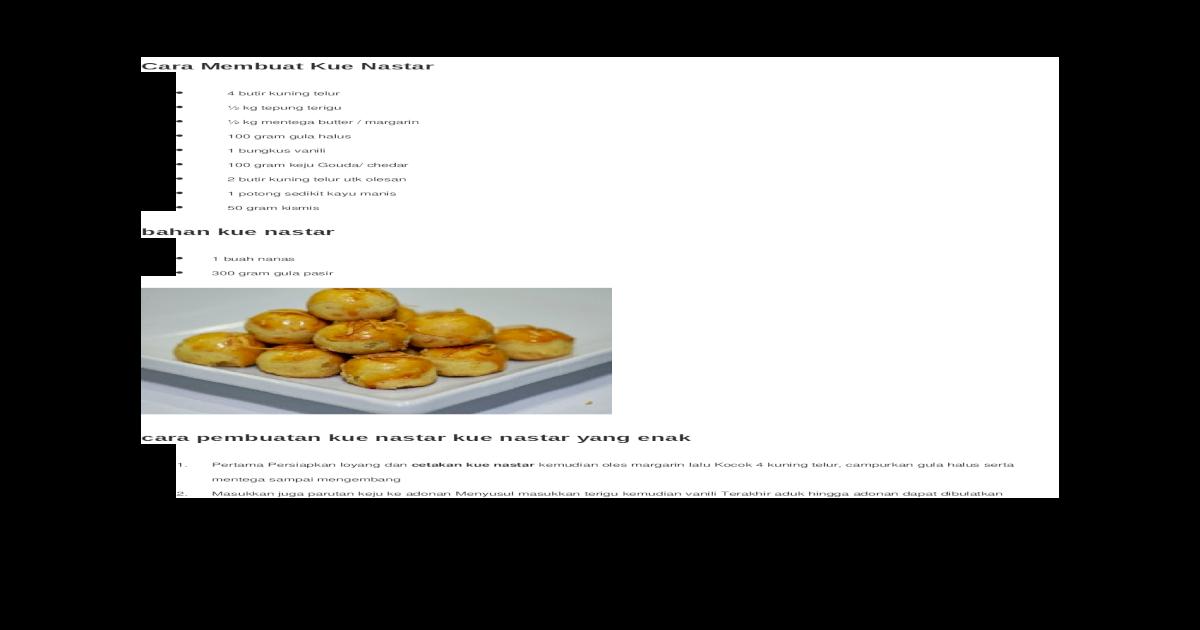 Cara Membuat Kue Nastar Doc Document