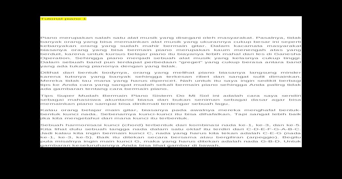 Tutorial Piano Docx Document