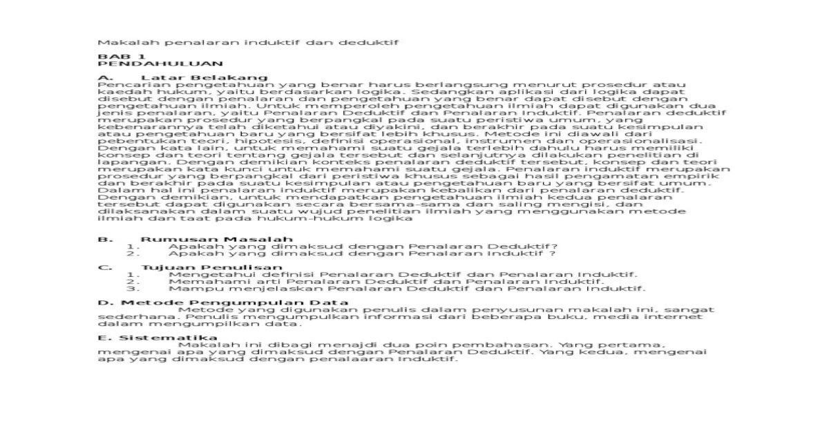 Makalah Penalaran Induktif Dan Deduktif Pdf Document