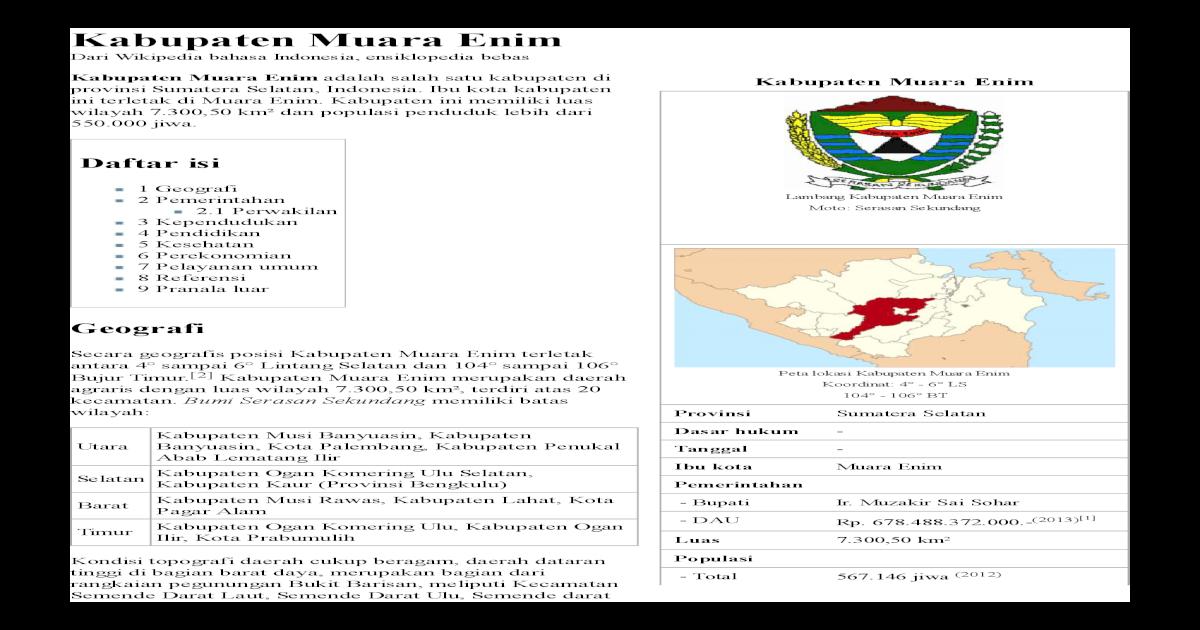 Kabupaten Muara Enim Pdf Document