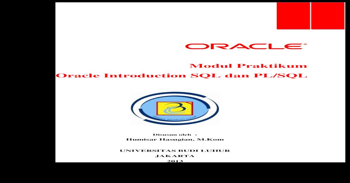 Modul Oracle Introduction SQL Dan PLSQL - [PDF Document]