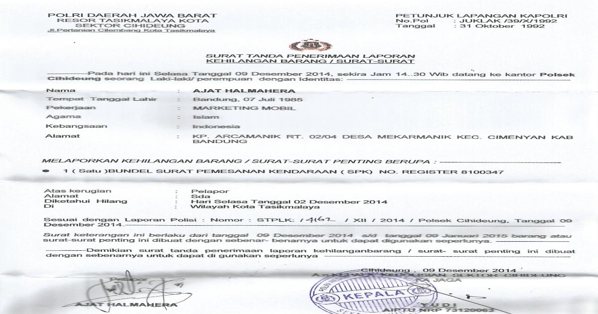 Contoh Surat Kehilangan Polisi Pdf Document