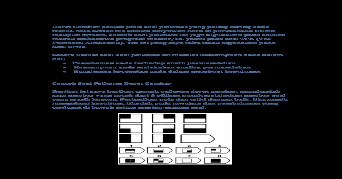 Contoh Soal Psikotes Deret Gambar A Contoh Soal Psikotes Deret Gambar Mengalami Kesulitan Lihatlah Pada Jawaban Dan Pembahasan Yang Terdapat Di Bawah Setiap Masing Masing Soal Pdf Document