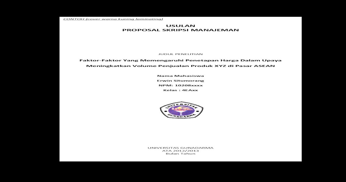 Contoh Proposal Skripsi Sistem Informasi Gunadarma Kumpulan