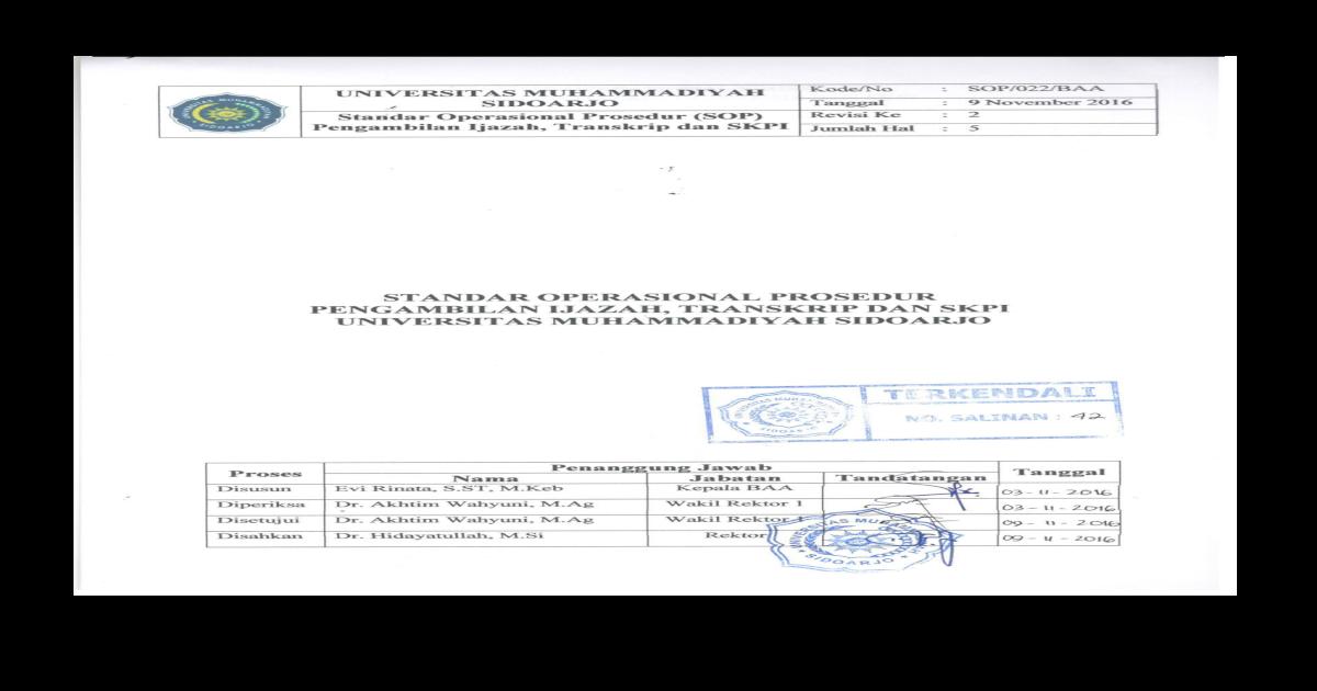 Standar Operasional Prosedur Pengambilan Ijazah Transkrip