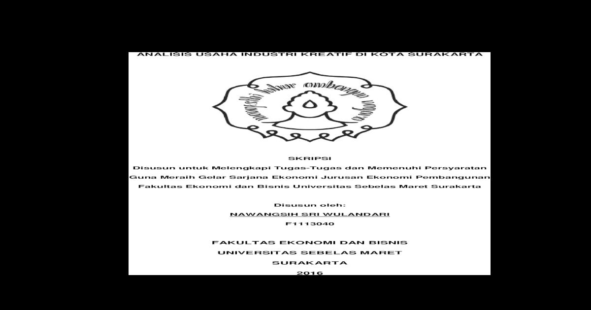 Skripsi Disusun Untuk Melengkapi Tugas Tugas Dan Studi Ekonomi