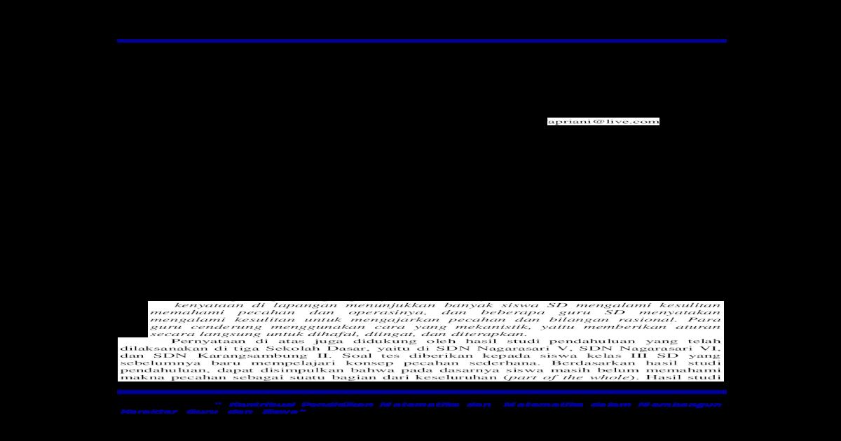 P 45 Desain Didaktis Pengenalan Konsep Pecahan Sederhana Desain Didaktis Pengenalan Konsep Pecahan Sederhana Di Kelas Sd Ini Hendaknya Dimulai Dengan Soal Pecahan Yang Berpenyebut 3 Pdf Document
