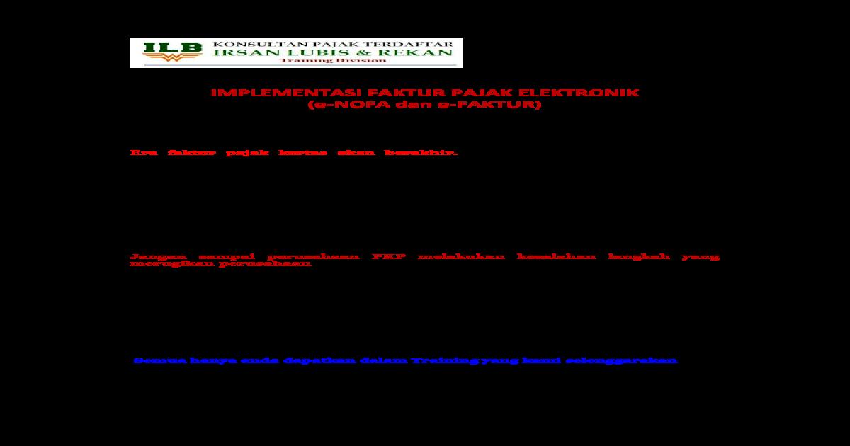 Implementasi Faktur Pajak Elektronik E Nofa Faktur Pajak