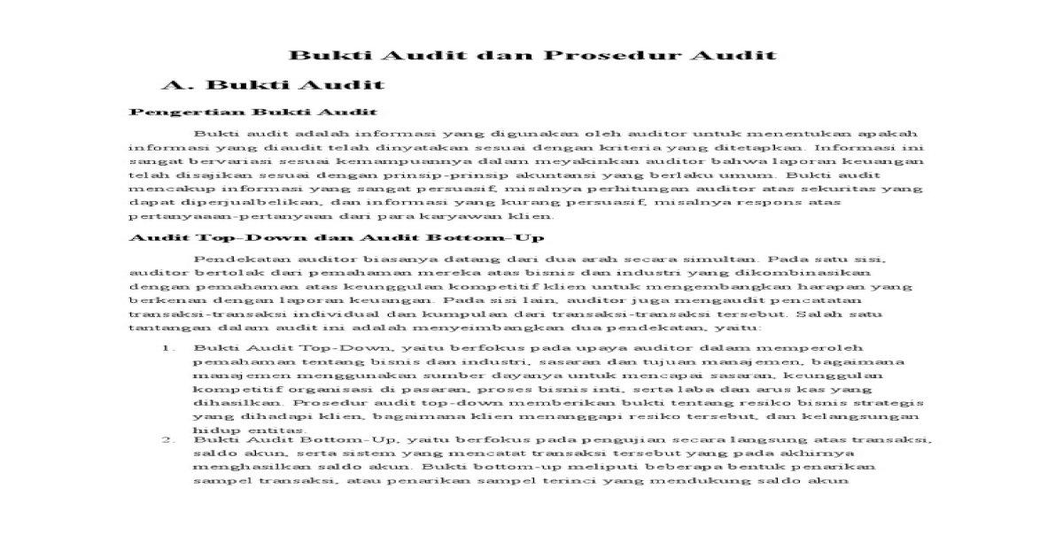 Bukti Dan Prosedur Audit Pdf Document