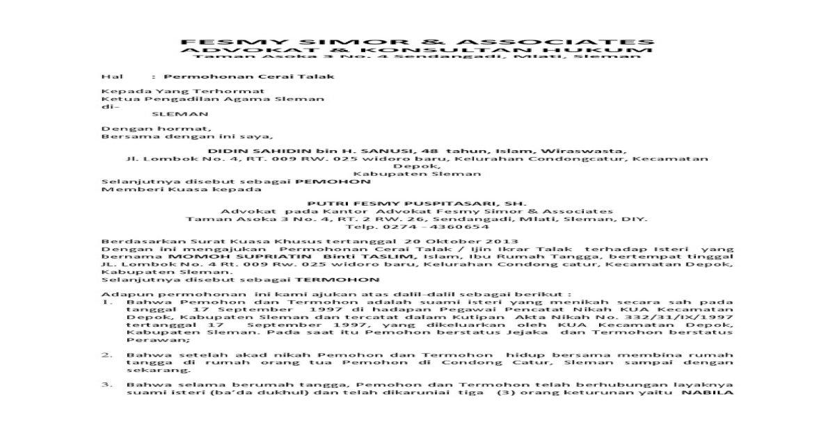 Permohonan Talak Pdf Document