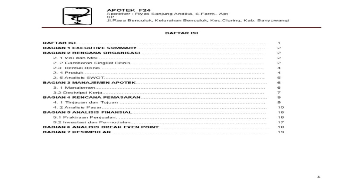 contoh buat bisnis plan - PDF Document