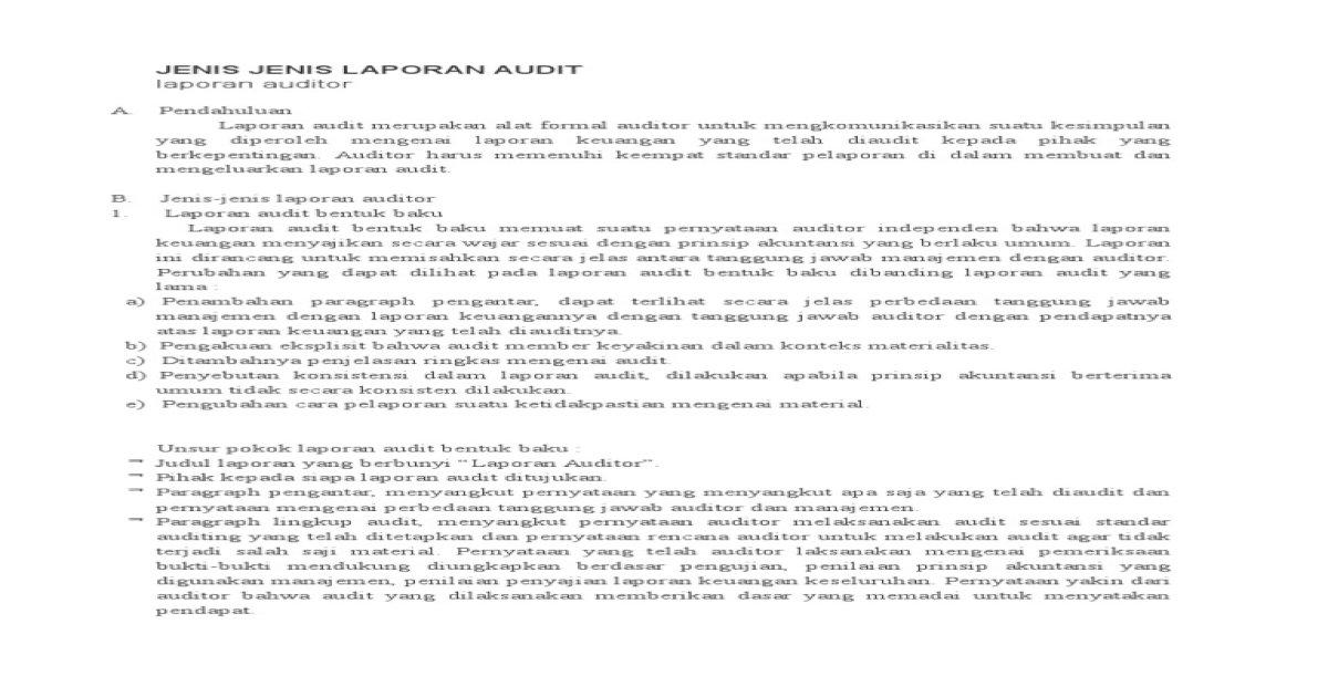 Jenis Jenis Laporan Audit Docx Pdf Document