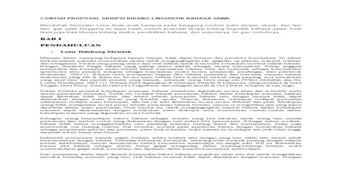 Contoh Proposal Skripsi Bidang Linguistik Bahasa Jawa Pdf Document