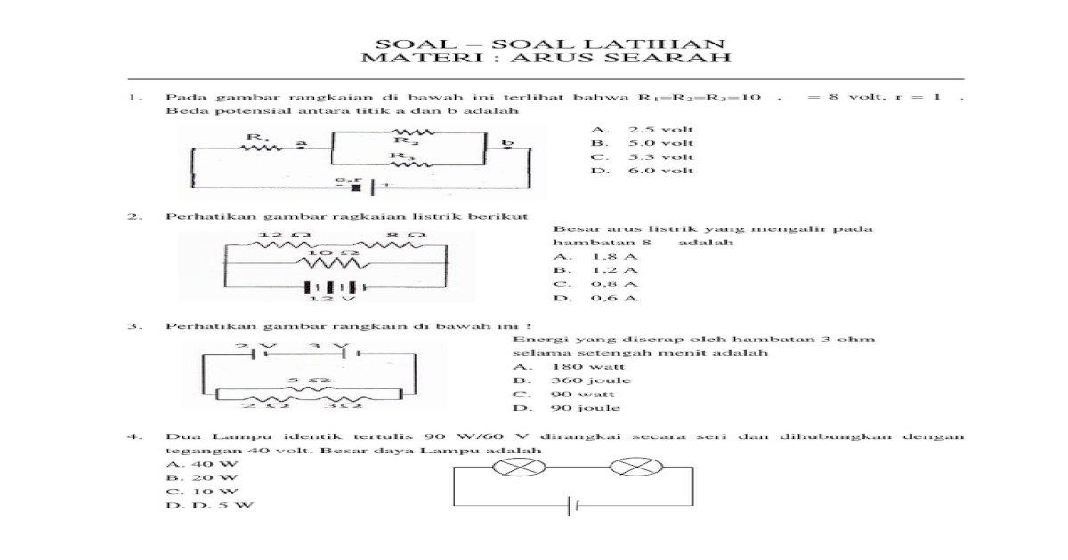 Soal Latihan Arus Searah (DC) - PDF Document