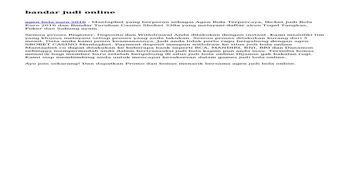 Bandar Judi Online Pdf Document