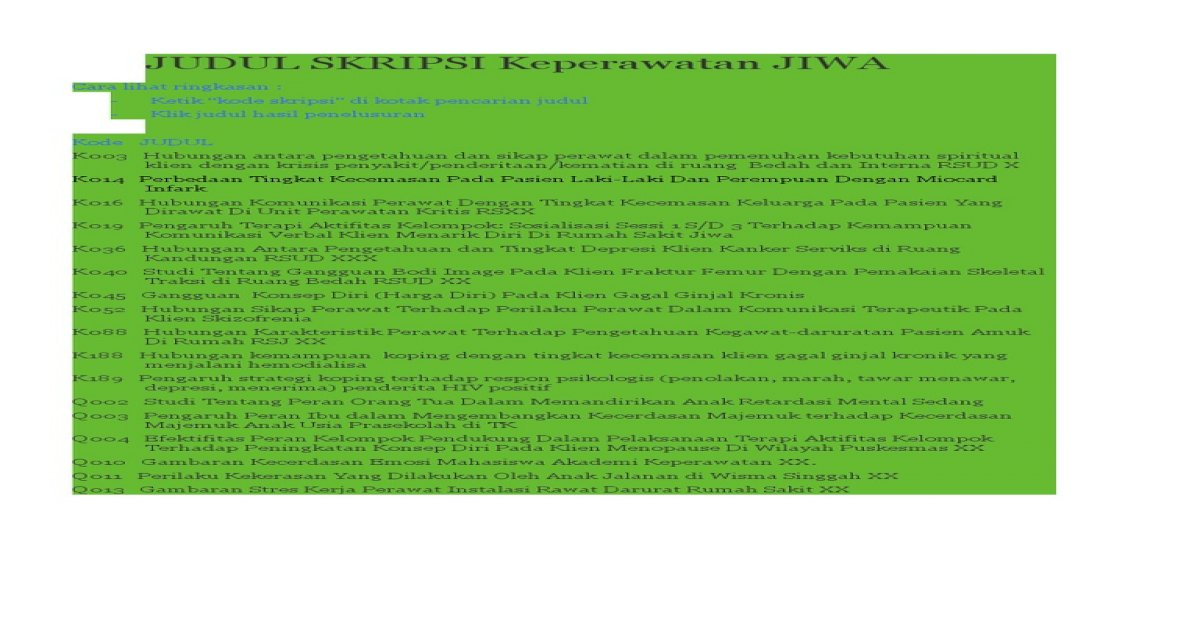 Judul Skripsi Keperawatan Jiwa Pdf Document
