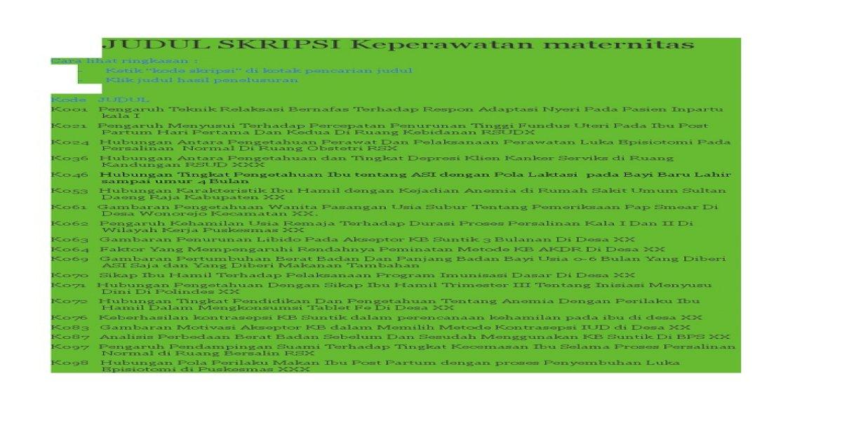 Judul Skripsi Keperawatan Maternitas Pdf Document