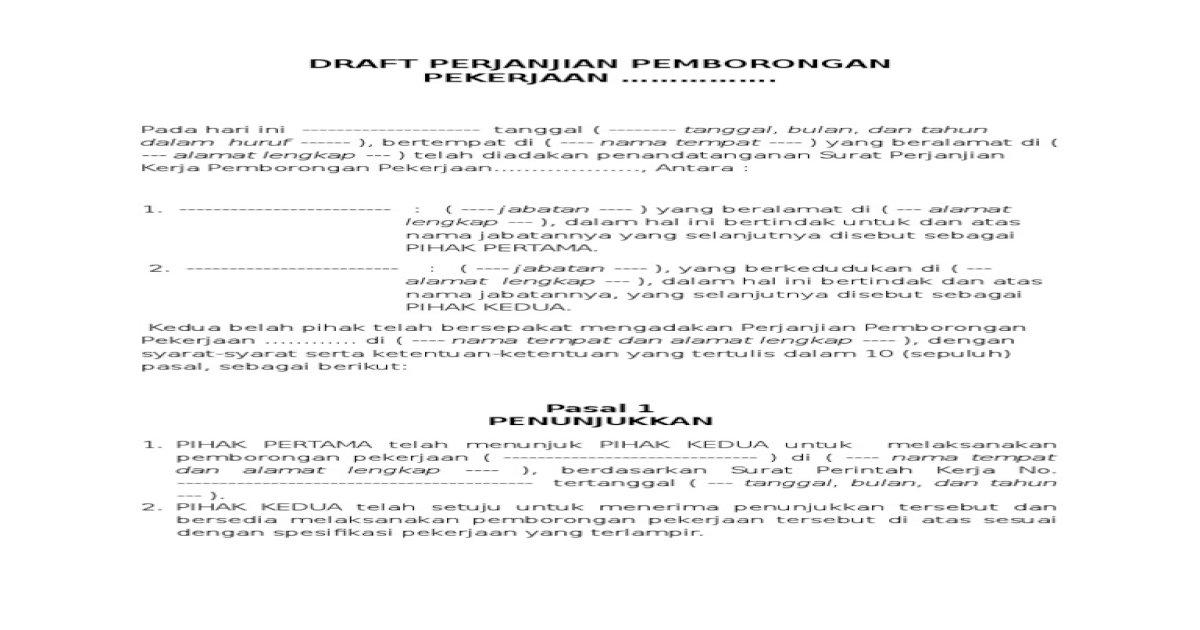 Draft Perjanjian Pemborongan Pdf Document