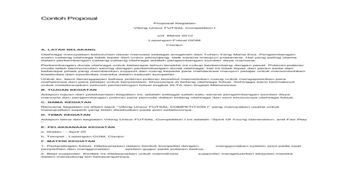 Contoh Proposal Futsal Ilmusosial Id