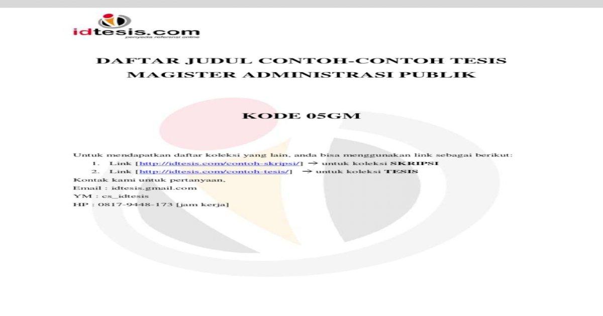 Daftar Judul Contoh Contoh Tesis Magister Administrasi Publik Map 05gm Pdf Document