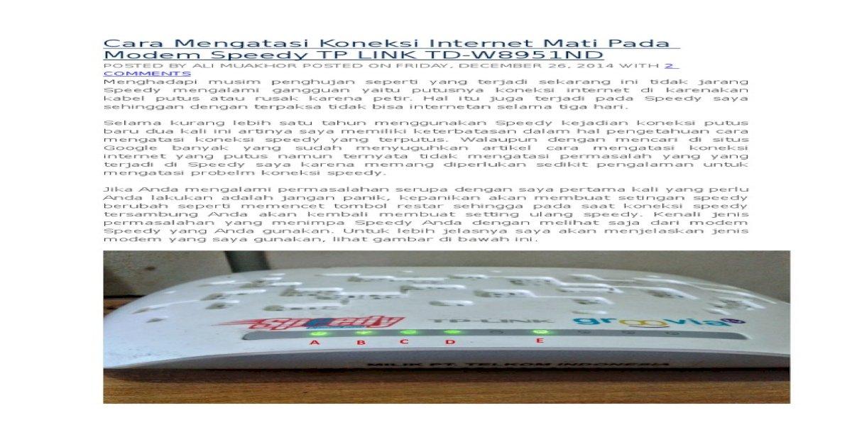 Cara Mengatasi Koneksi Internet Mati Pada Modem Speedy TP LINK TD ...