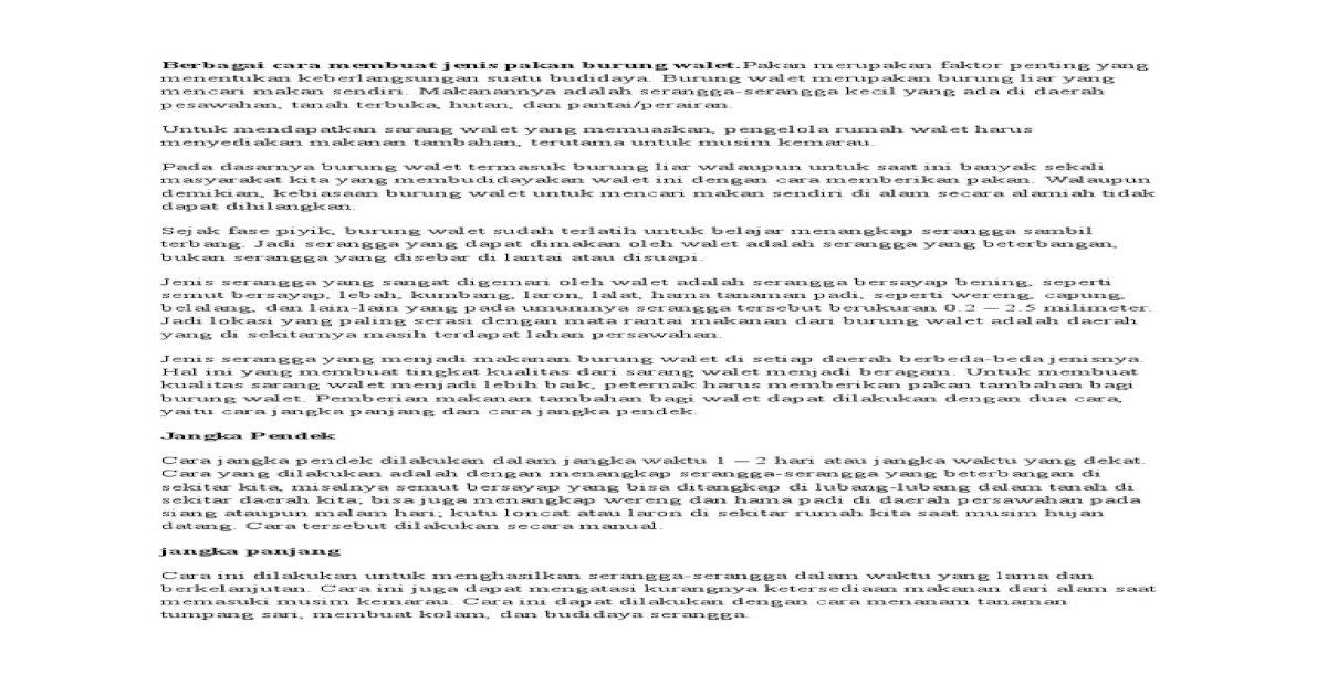 Berbagai Cara Membuat Jenis Pakan Burung Walet Docx Pdf Document