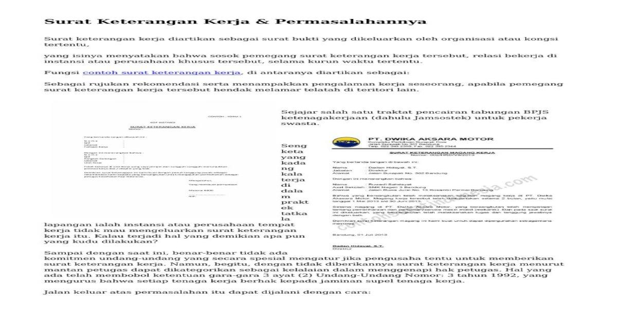 Surat Keterangan Kerja Permasalahannya Pdf Document