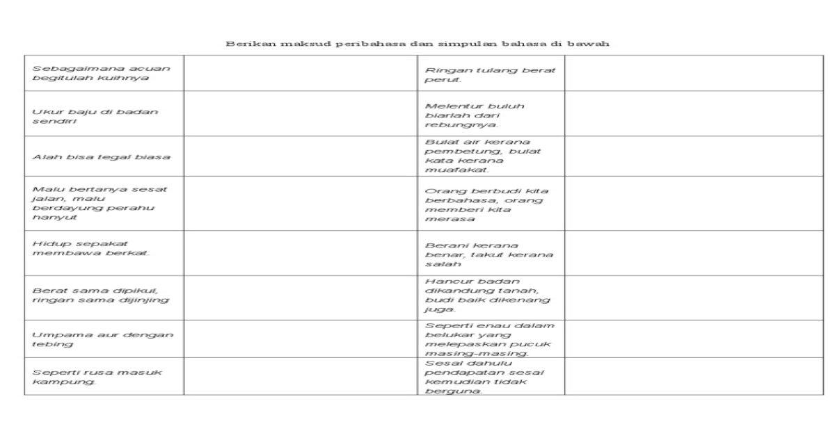 Berikan Maksud Peribahasa Dan Simpulan Bahasa Di Bawah Pdf Document