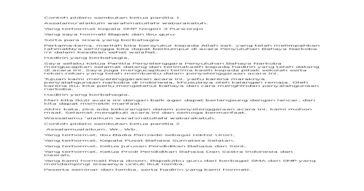 Contoh Pidato Sambutan Ketua Panitia 1 Pdf Document