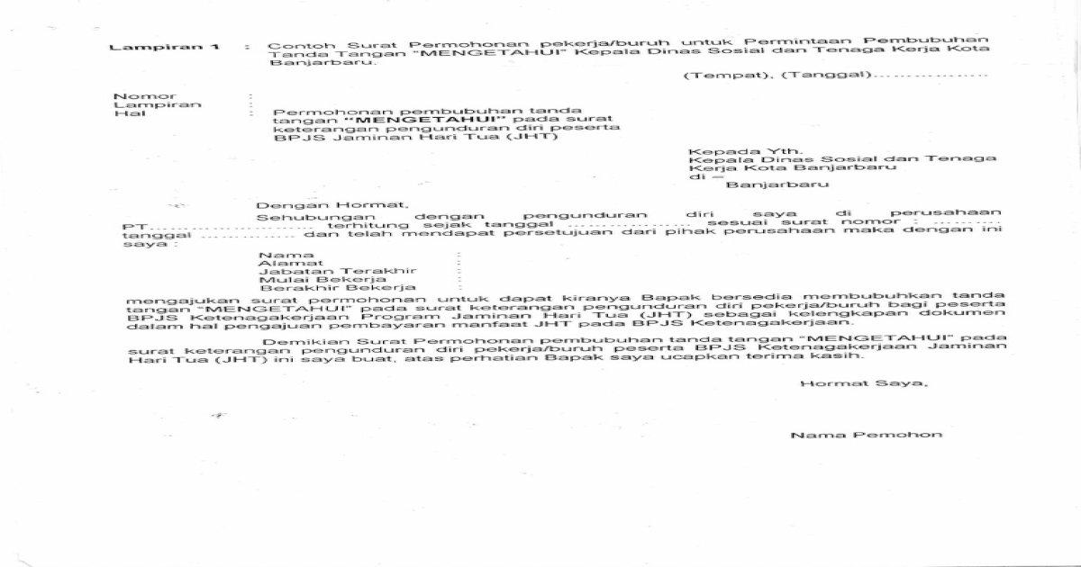 Surat Pernyataan Pengunduran Diri Dari Perusahaan ...