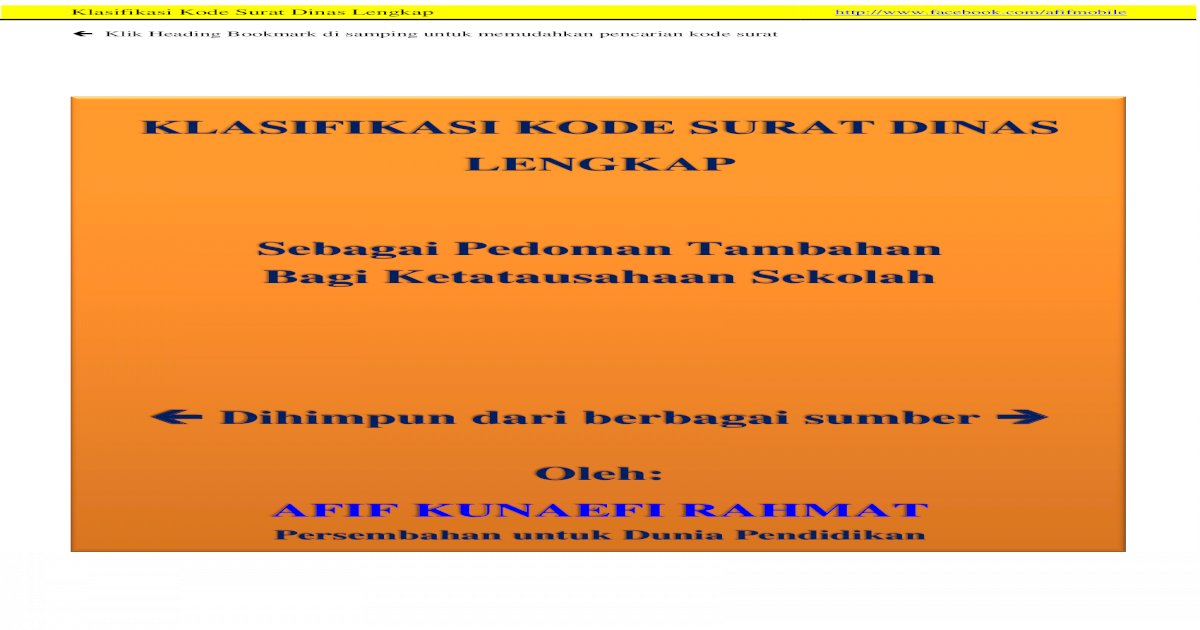 Klasifikasi Kode Surat Dinas Lengkap - PDF Document