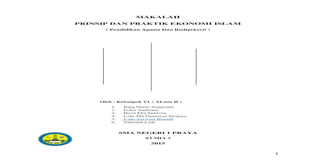 Prinsip Dan Praktik Ekonomi Islam Pdf File Pdf Document