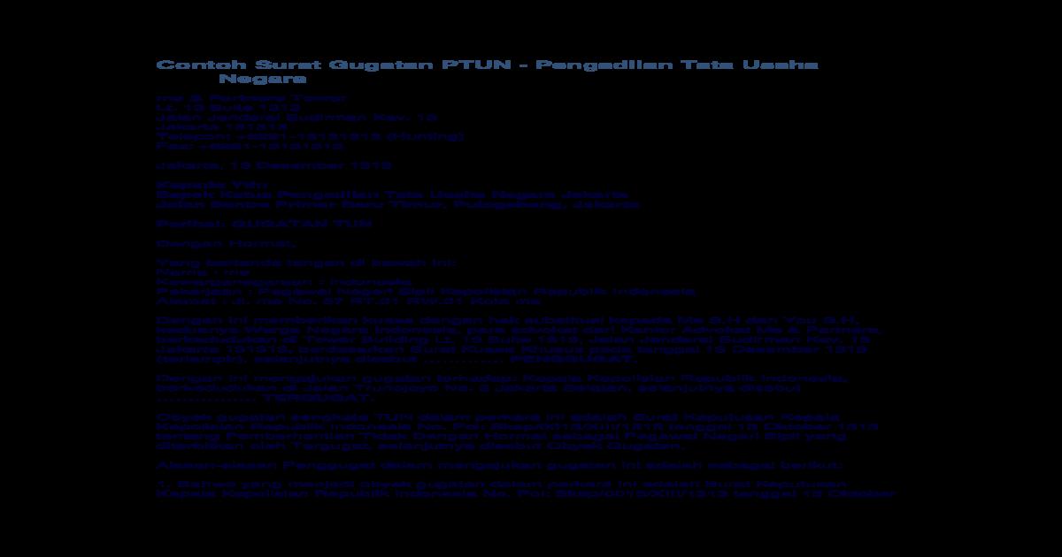 Contoh Surat Gugatan Ptun Doc Document