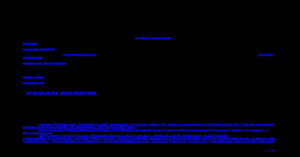 Kumpulan Judul Skripsi Teknik Mesin Gratis Pdf Document