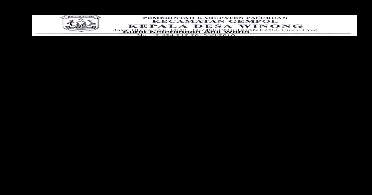 Surat Keterangan Ahli Waris Dari Kepala Desa - Kumpulan ...