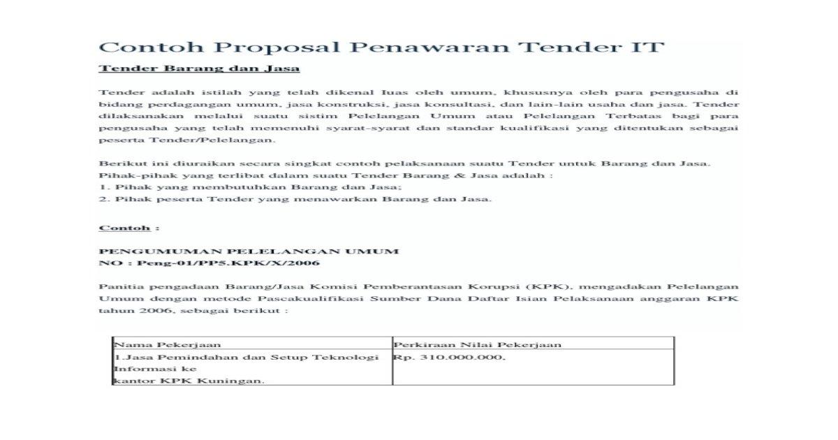 Contoh Proposal Penawaran Tender IT - PDF Document