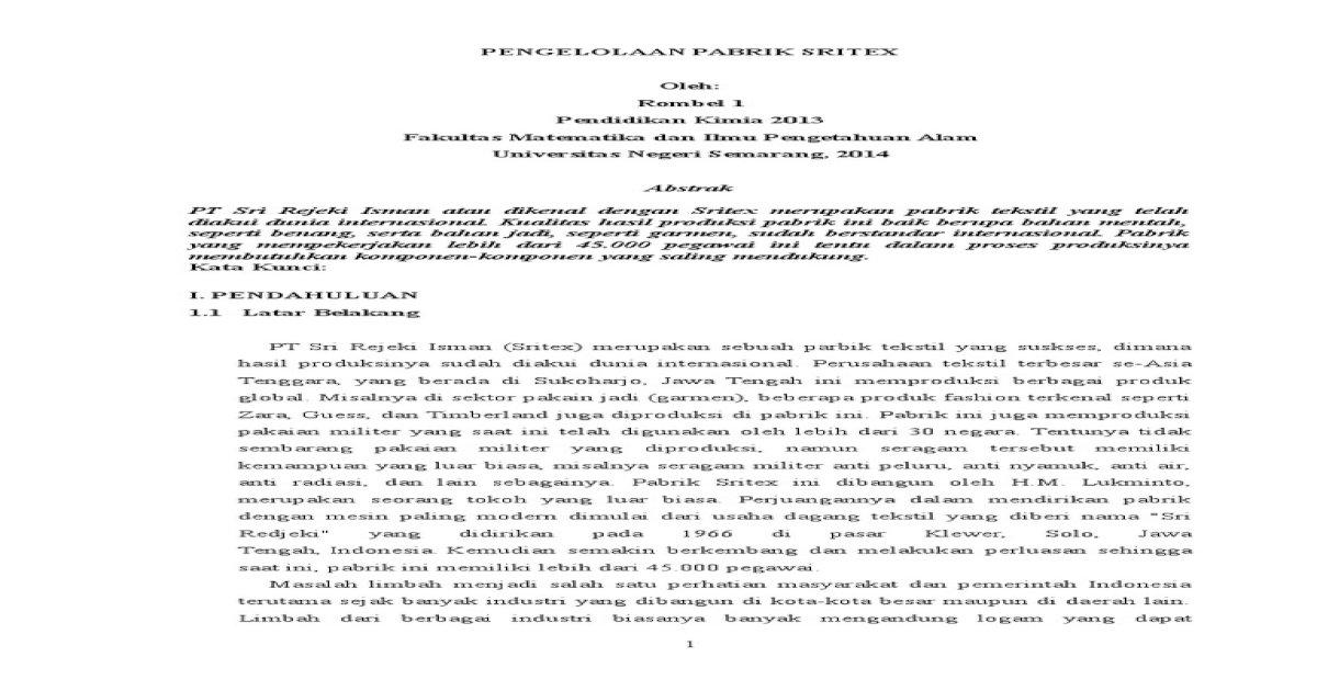 Makalah Pabrik Sritex Rombel 1 - Download PDF