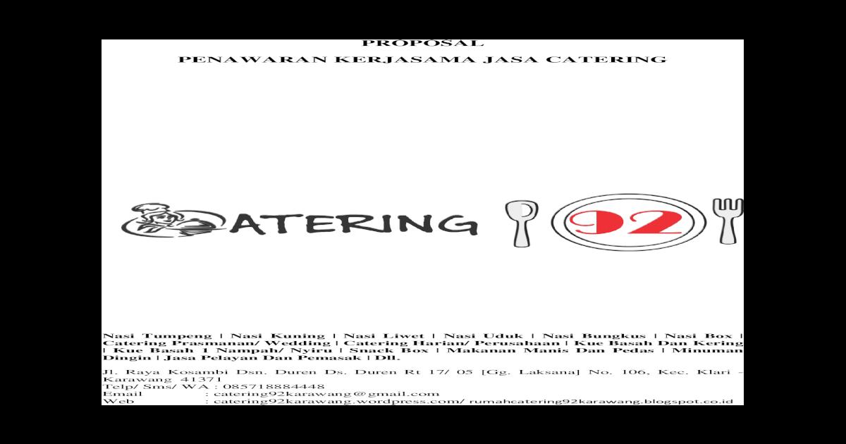 Proposal Penawaran Kerjasama Jasa Catering Makan Harian