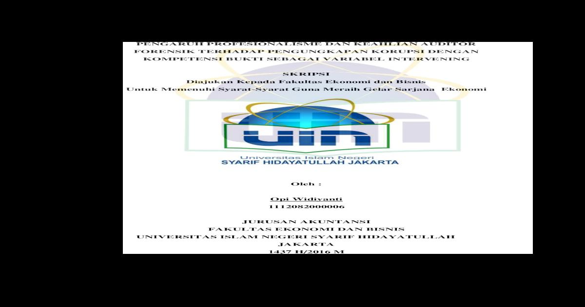 Pengaruh Profesionalisme Dan Keahlian Auditor Forensik