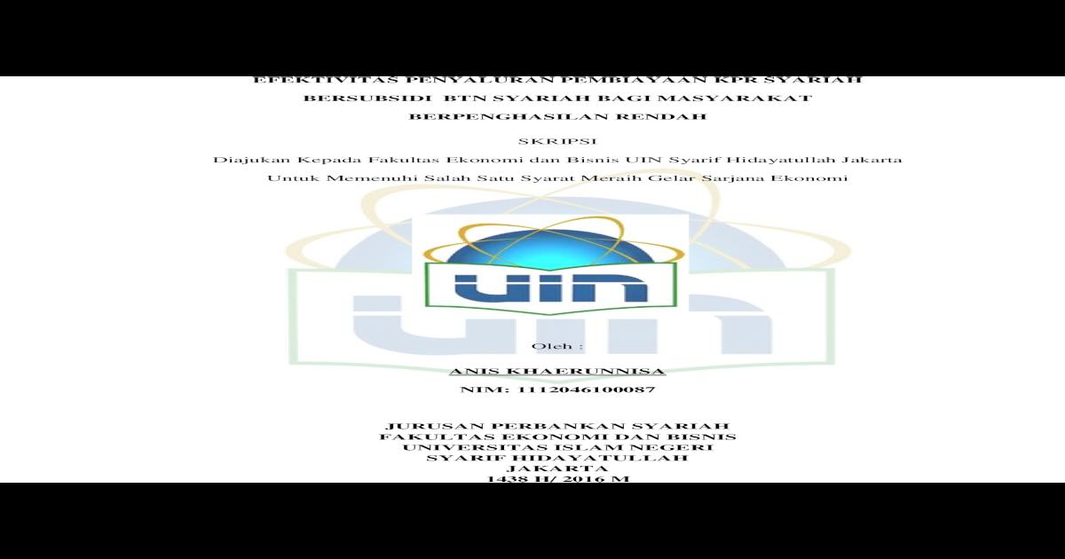 Efektivitas Penyaluran Pembiayaan Kpr Syariah Bersubsidi