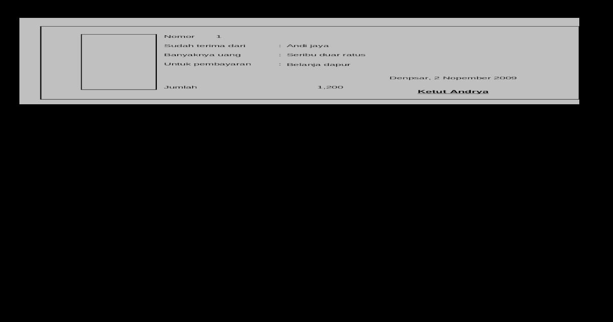 Contoh Kwitansi Excel Gratis Xls Document