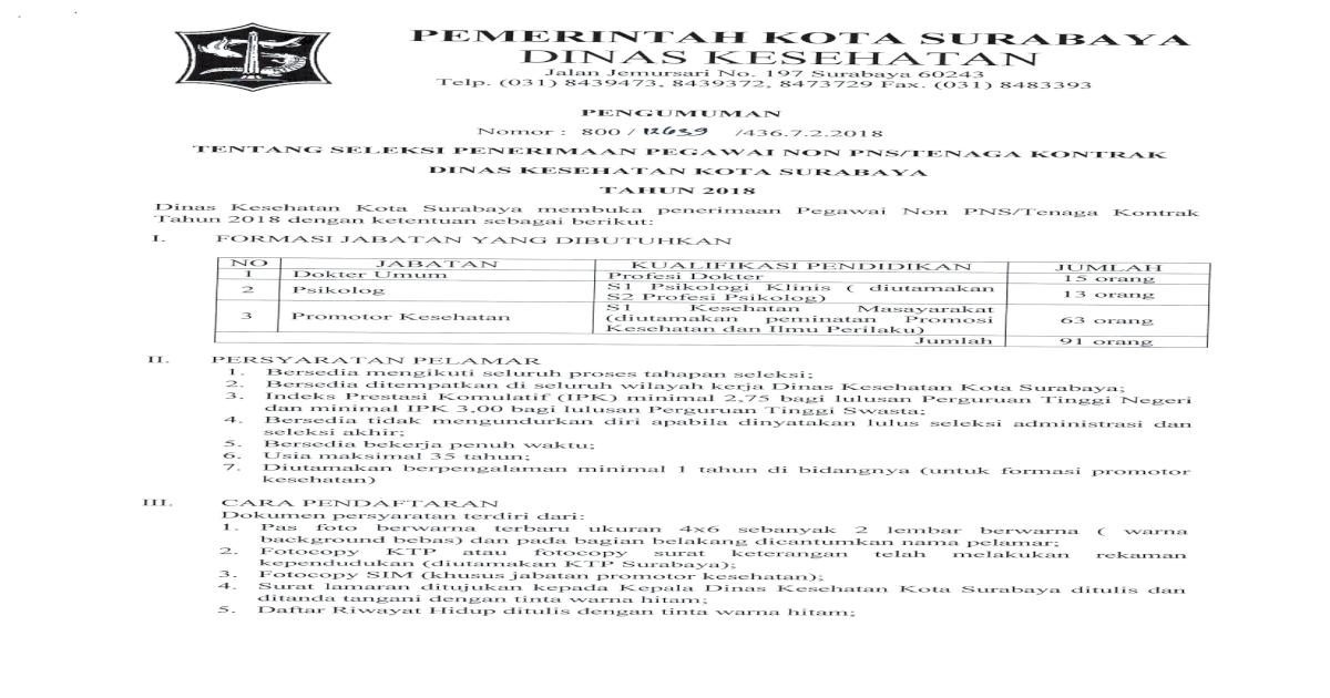 Pemerintah Kota Surabaya Surat Keterangan Sehat Dari