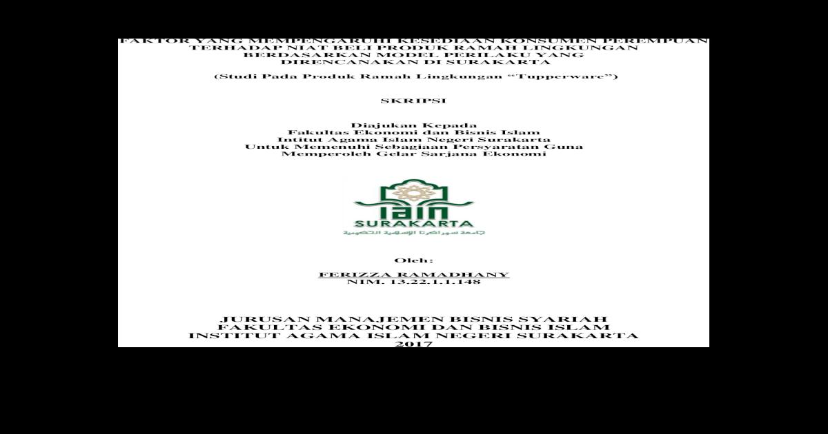Jurusan Manajemen Bisnis Syariah Fakultas Full Pdf Biro Skripsi Fakultas Ekonomi Dan Bisnis Islam Pdf Document